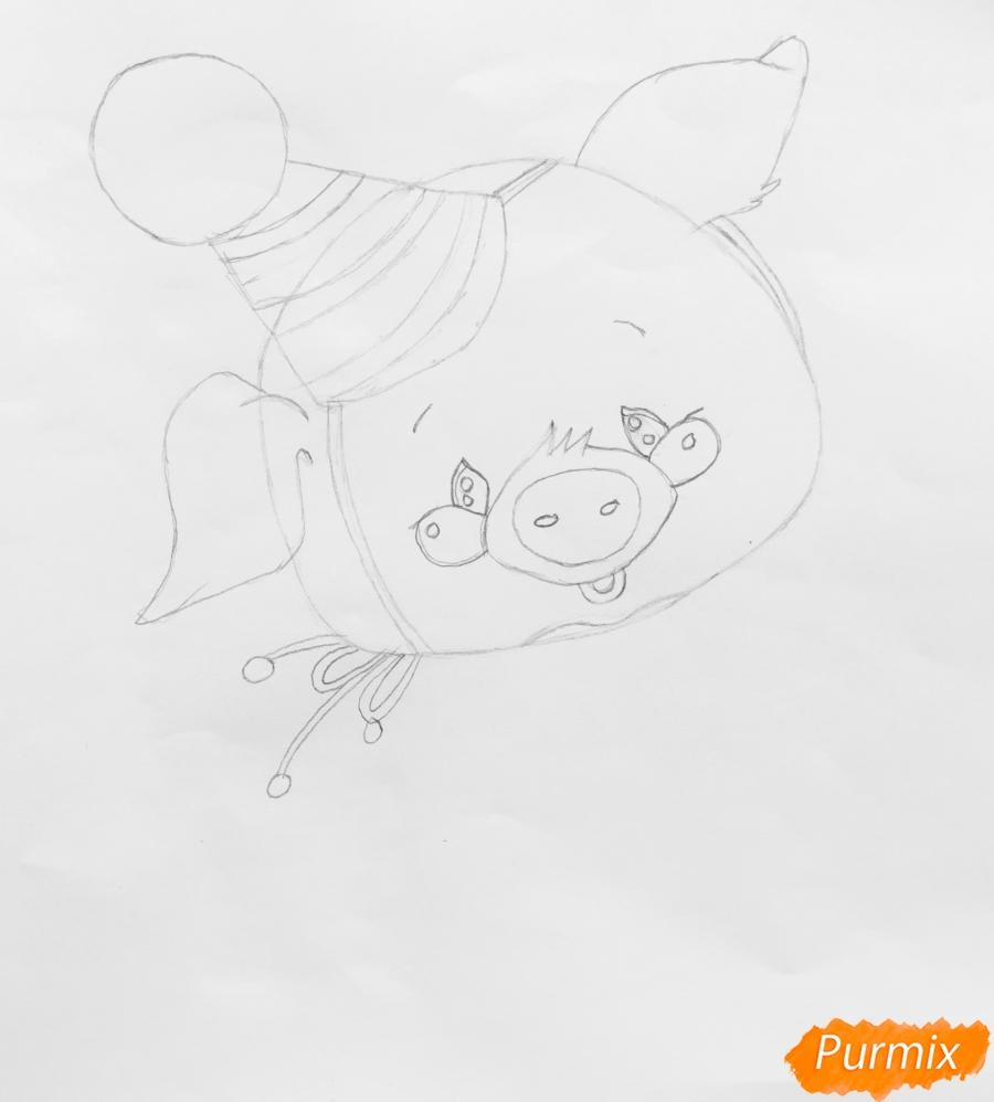 Рисуем новогоднюю свинку в новогодней шапочке и с ёлочкой - шаг 3