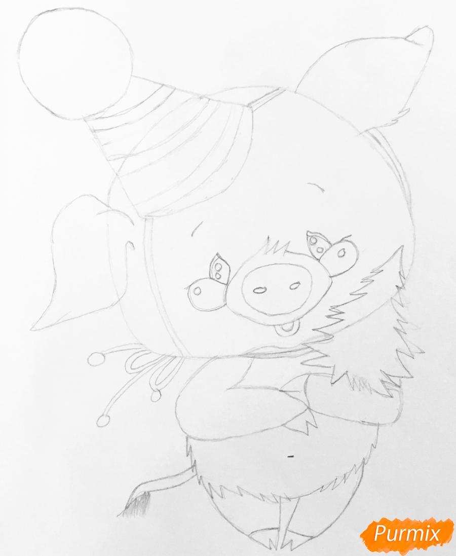 Рисуем новогоднюю свинку в новогодней шапочке и с ёлочкой - шаг 5