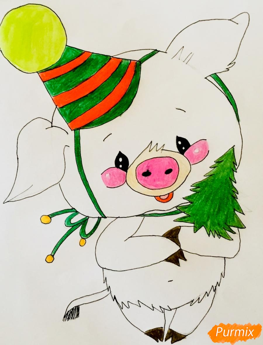 Рисуем новогоднюю свинку в новогодней шапочке и с ёлочкой - шаг 8