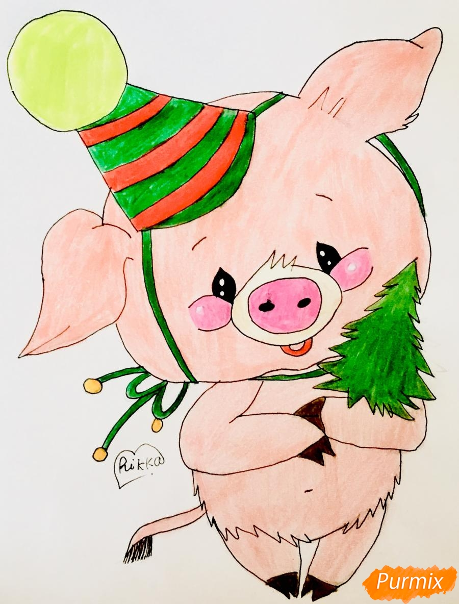 Рисуем новогоднюю свинку в новогодней шапочке и с ёлочкой - шаг 9