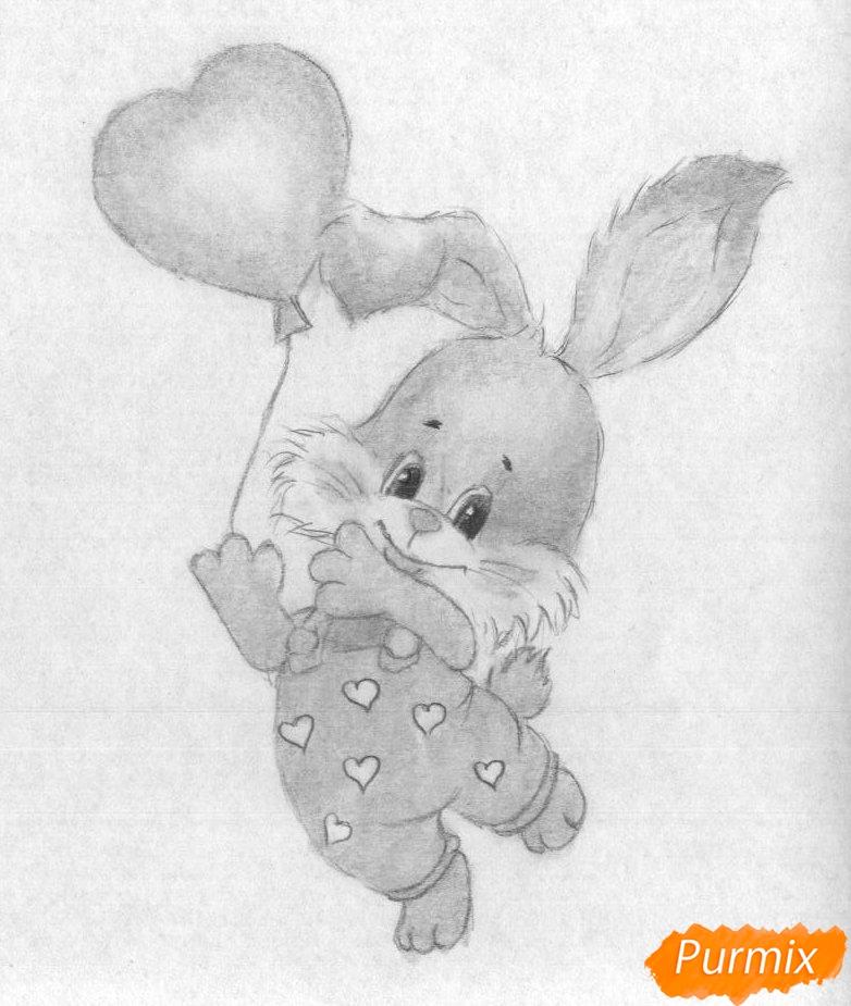 Рисуем зайца с шариком на День святого Валентина - шаг 3