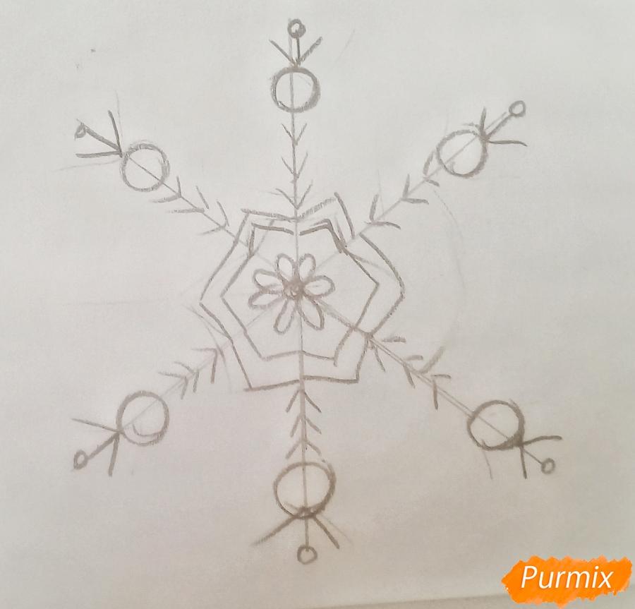 Рисуем просто снежинку на новый год - шаг 4