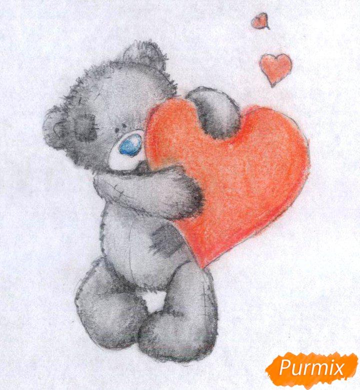 Рисуем мишку с сердечком карандашами - шаг 4