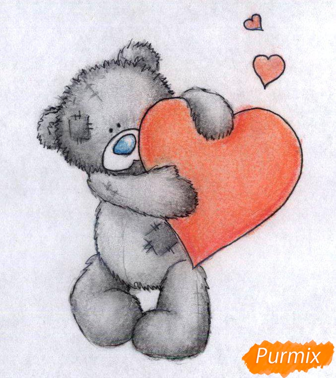 Рисуем мишку с сердечком карандашами - шаг 5