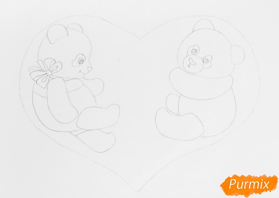 Рисуем валентинку с влюблёнными пандами и с цветочками - шаг 3