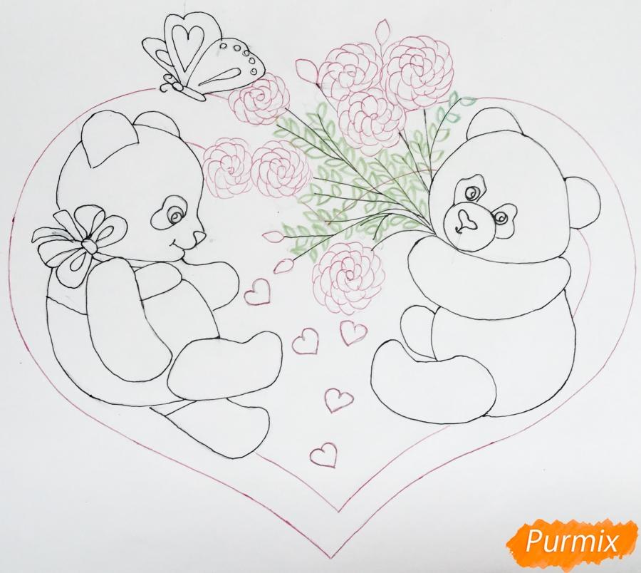 Рисуем валентинку с влюблёнными пандами и с цветочками - шаг 6