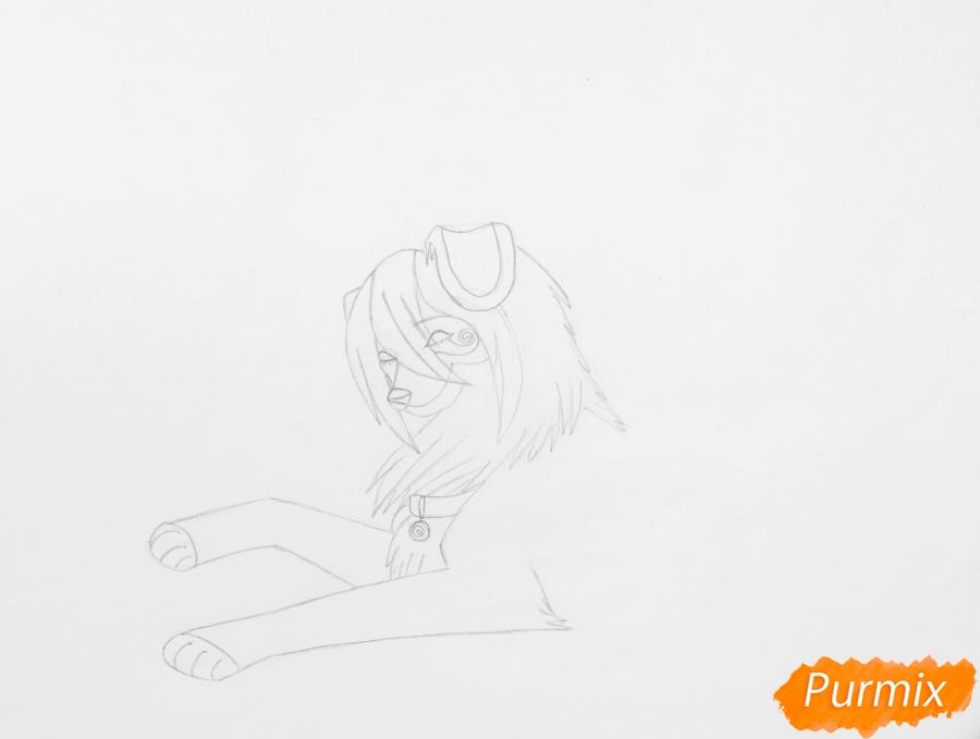 Рисуем влюблённую пару аниме собак с сердечками и с надписью I Love you - шаг 3