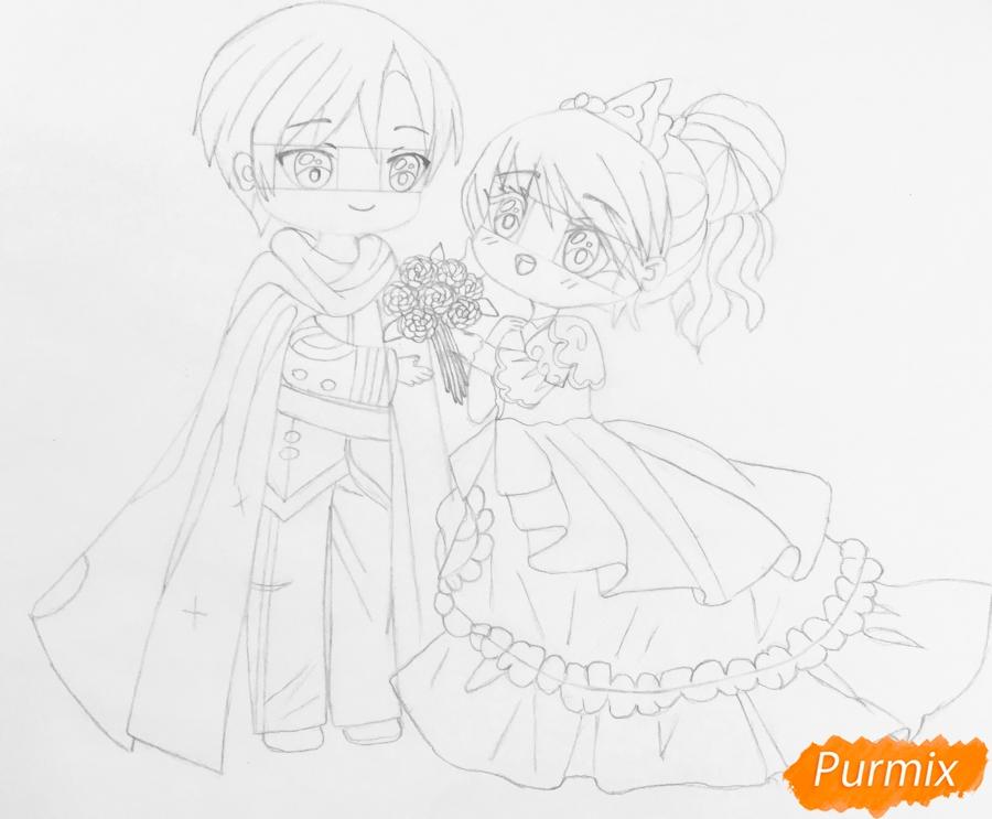 Рисуем влюблённых принца и принцессу в стиле чиби на День Святого Валентина - шаг 10