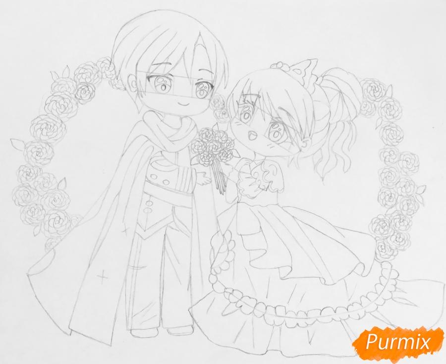 Рисуем влюблённых принца и принцессу в стиле чиби на День Святого Валентина - шаг 11