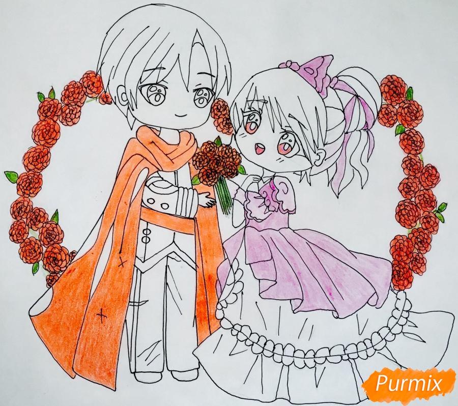 Рисуем влюблённых принца и принцессу в стиле чиби на День Святого Валентина - шаг 14