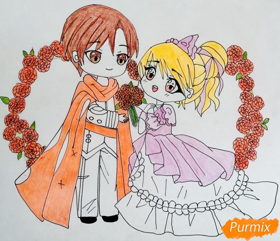 Рисуем влюблённых принца и принцессу в стиле чиби на День Святого Валентина - шаг 15