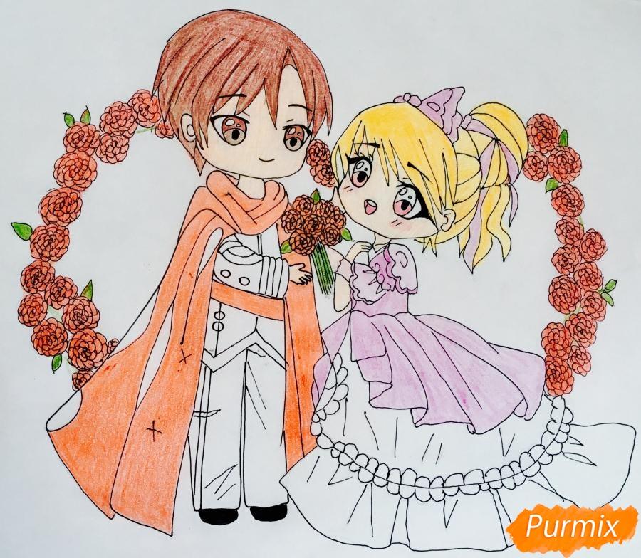 Рисуем влюблённых принца и принцессу в стиле чиби на День Святого Валентина - шаг 16