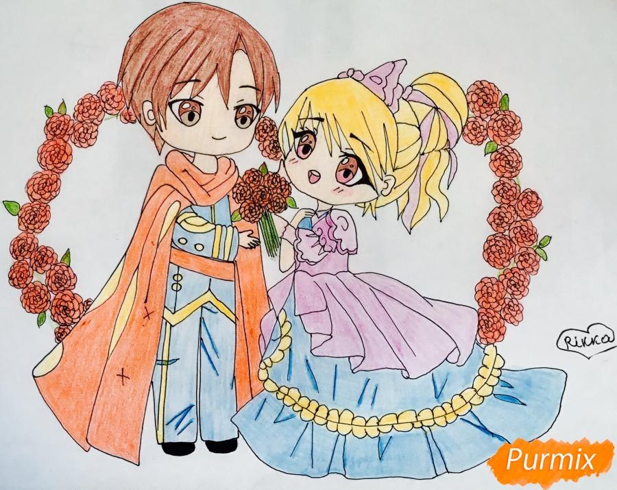 Рисуем влюблённых принца и принцессу в стиле чиби на День Святого Валентина - шаг 17