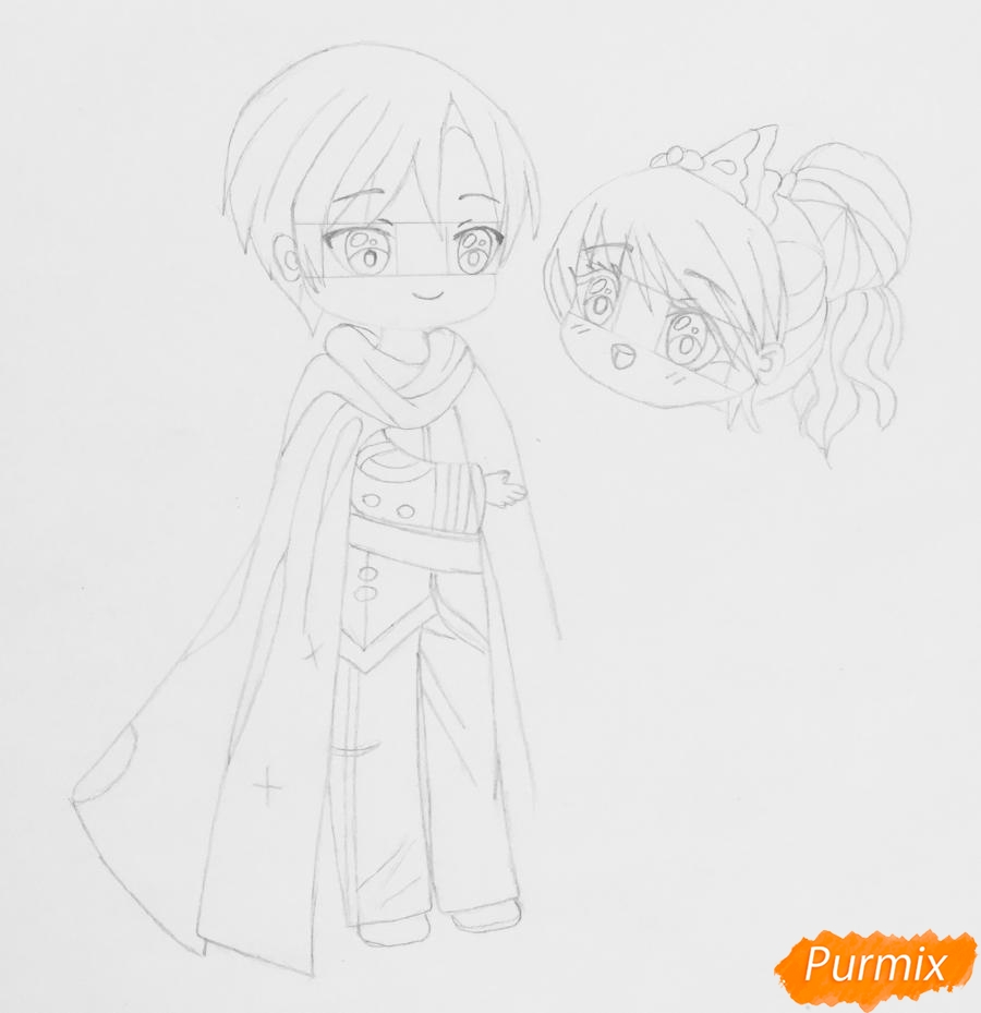 Рисуем влюблённых принца и принцессу в стиле чиби на День Святого Валентина - шаг 8