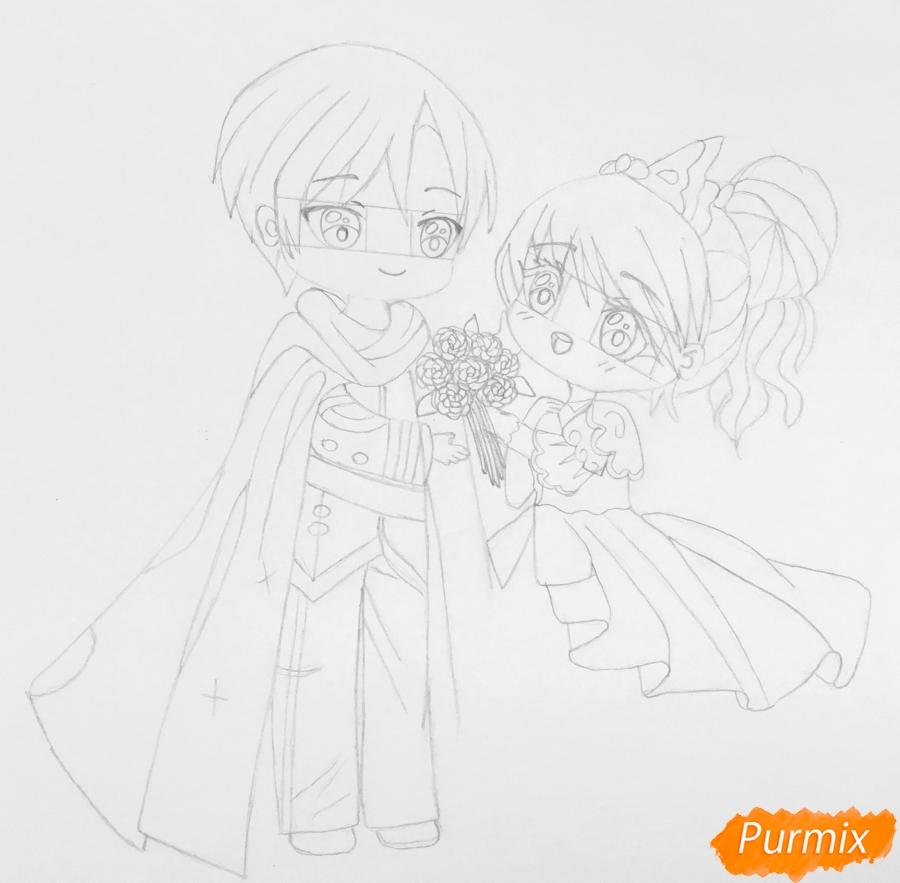 Рисуем влюблённых принца и принцессу в стиле чиби на День Святого Валентина - шаг 9
