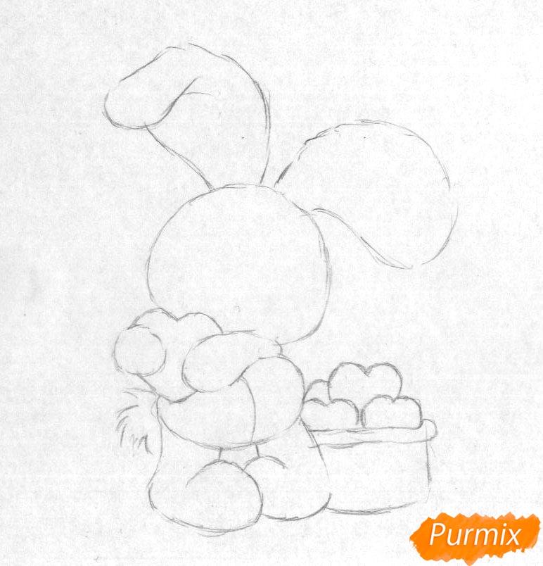 Рисуем зайца с сердечком на День святого Валентина - шаг 1