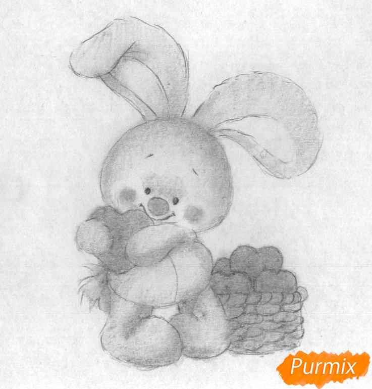 Рисуем зайца с сердечком на День святого Валентина - шаг 3