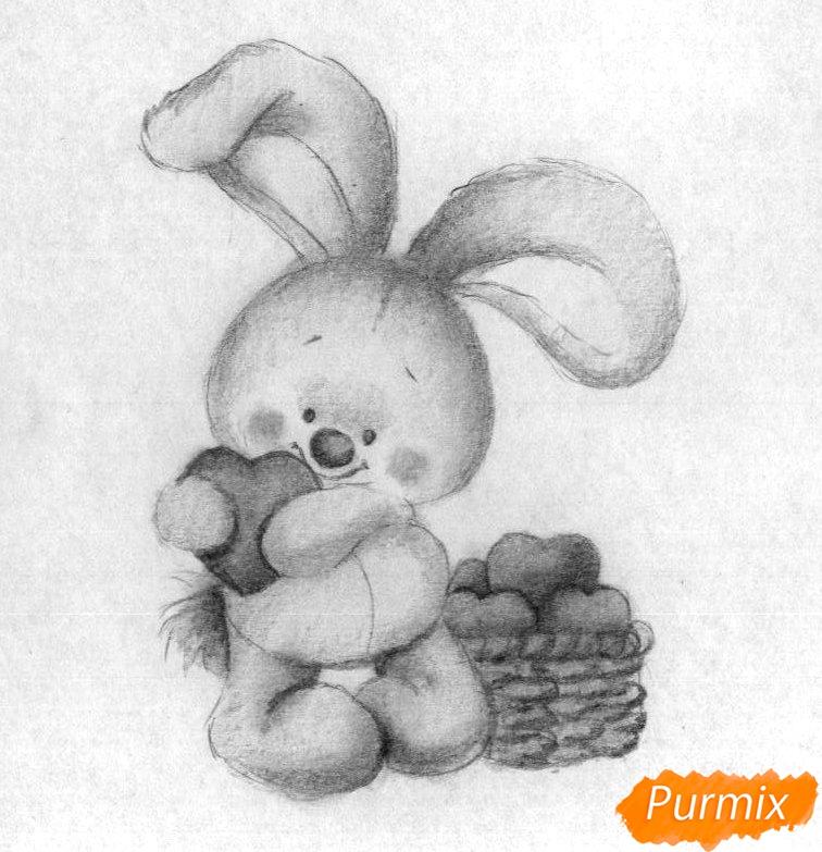 Рисуем зайца с сердечком на День святого Валентина - шаг 4