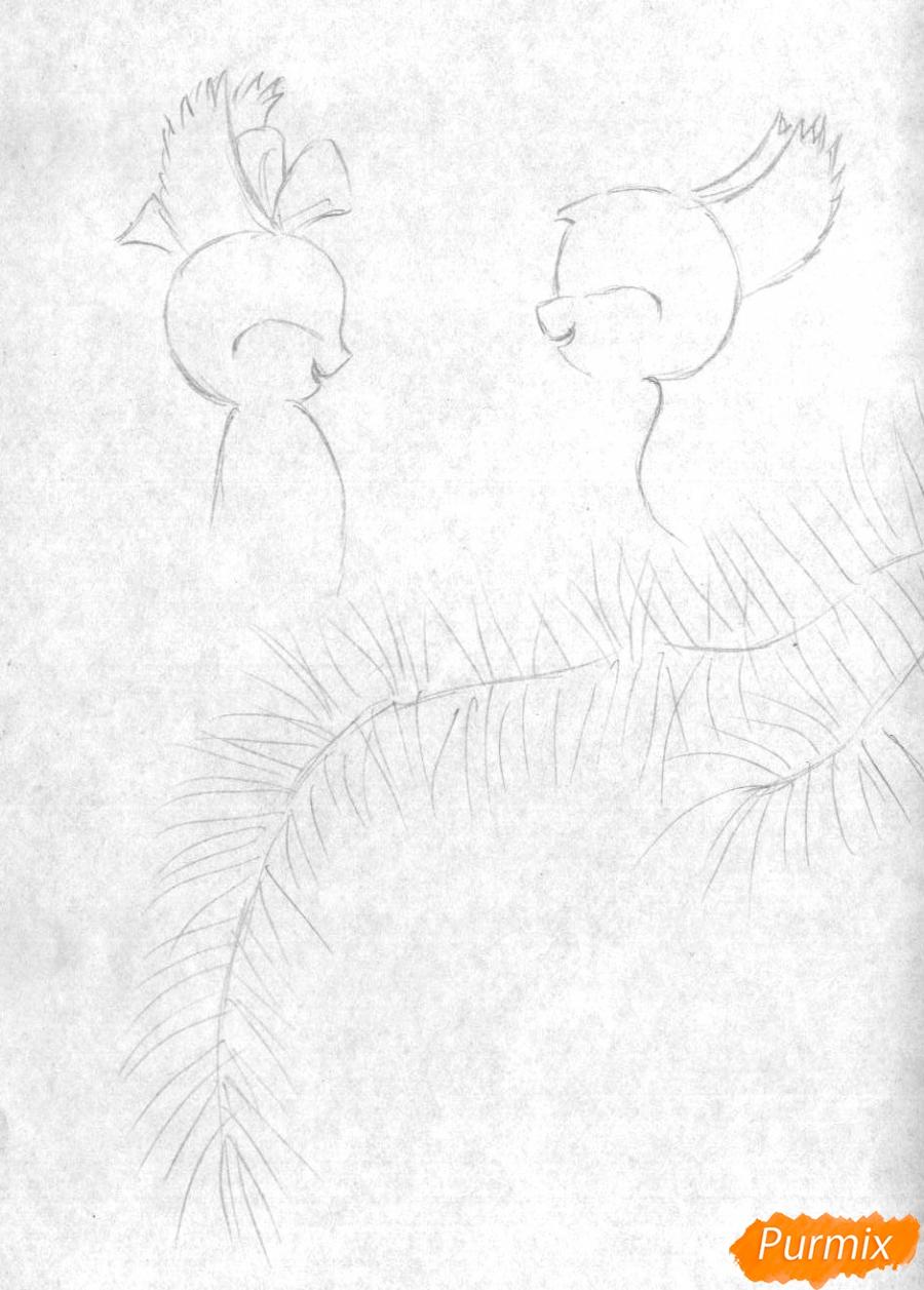 Рисуем новогоднюю открытку карандашами - шаг 1