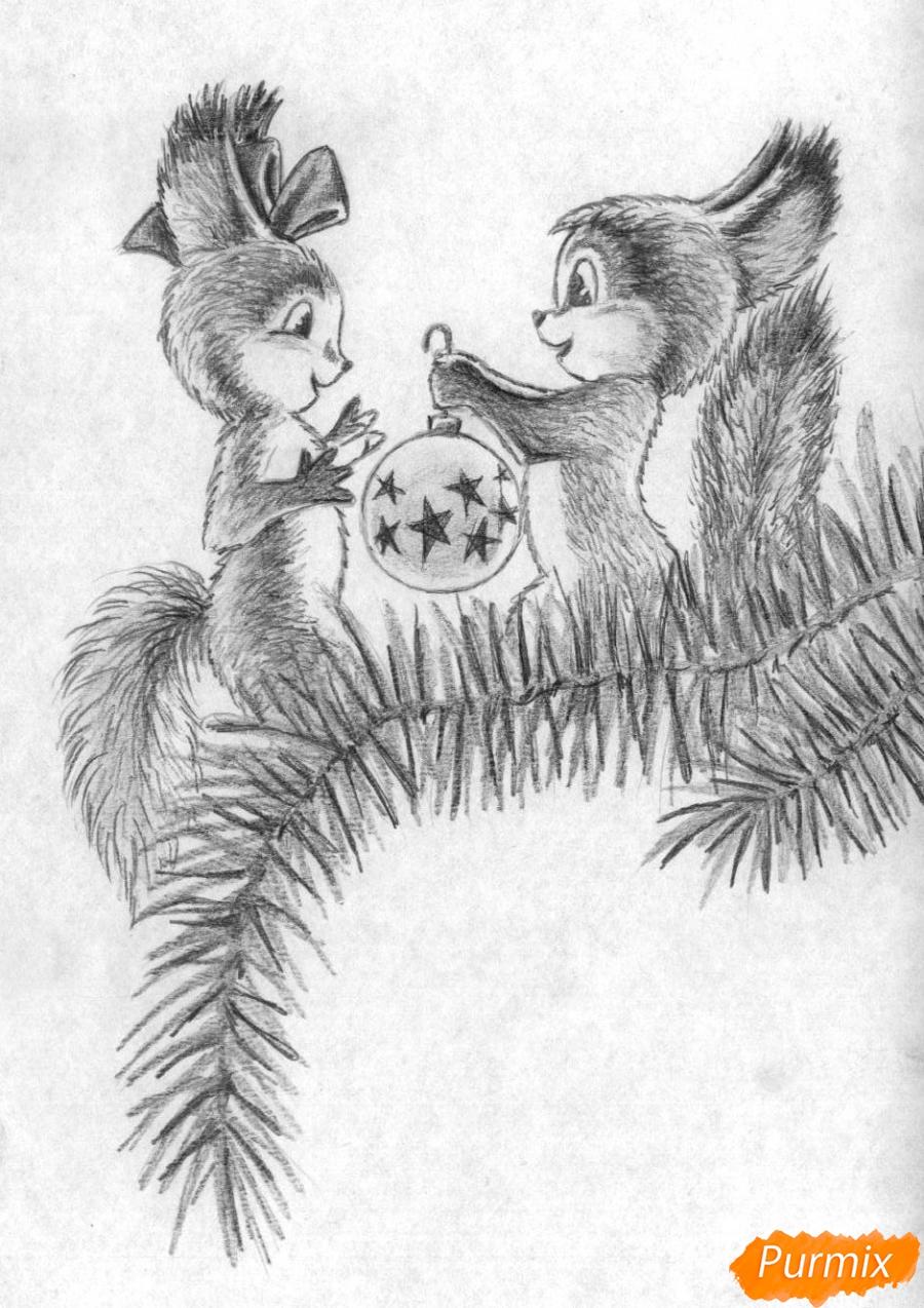 Рисуем новогоднюю открытку карандашами - шаг 4