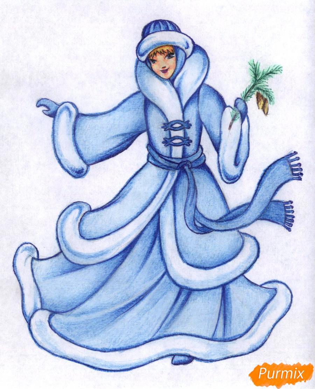 Рисуем снегурочку карандашами - шаг 5
