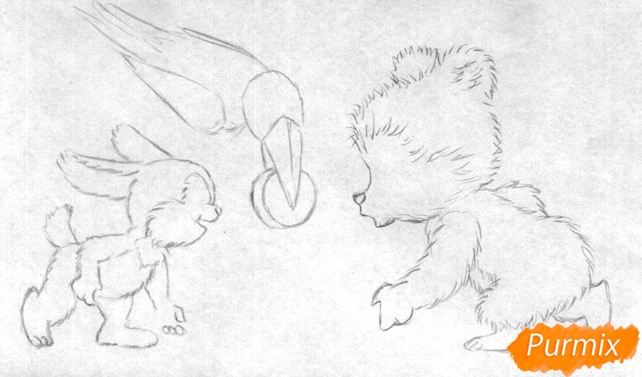 Рисуем зайца, мишку и ворону играющих в хоккей (открытка на Новый Год) - шаг 1