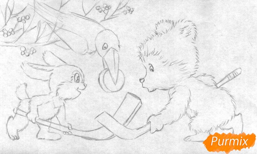 Рисуем зайца, мишку и ворону играющих в хоккей (открытка на Новый Год) - шаг 2
