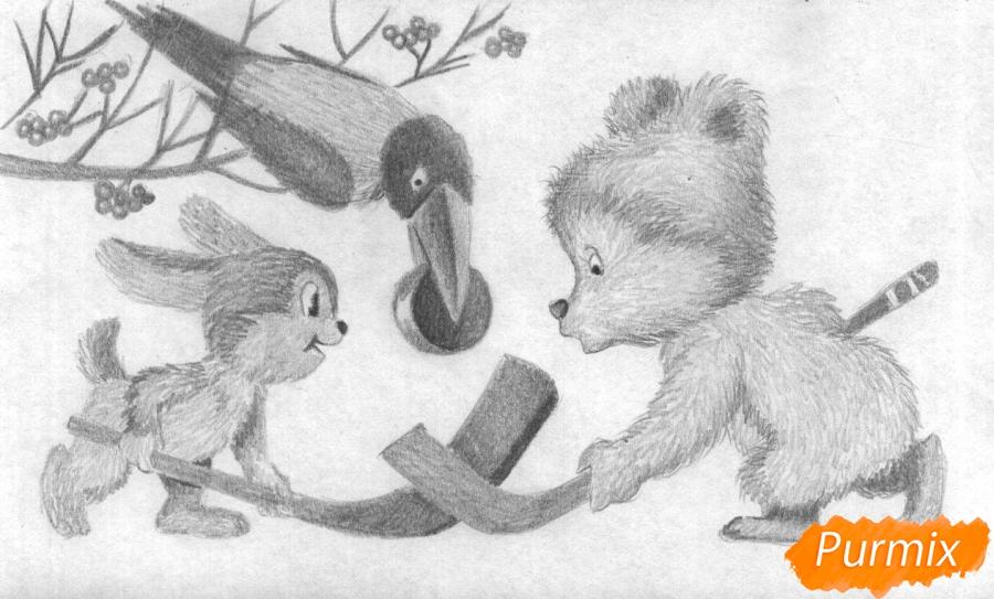 Рисуем зайца, мишку и ворону играющих в хоккей (открытка на Новый Год) - шаг 3