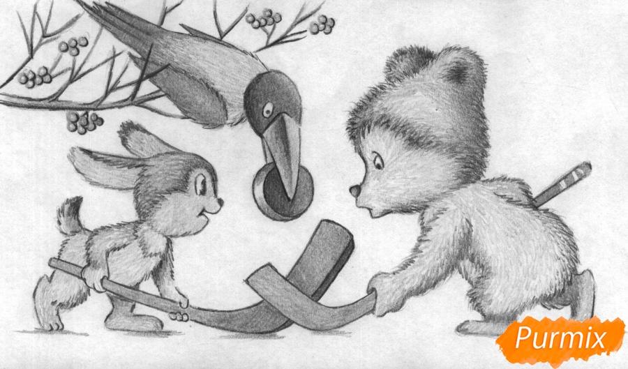 Рисуем зайца, мишку и ворону играющих в хоккей (открытка на Новый Год) - шаг 4