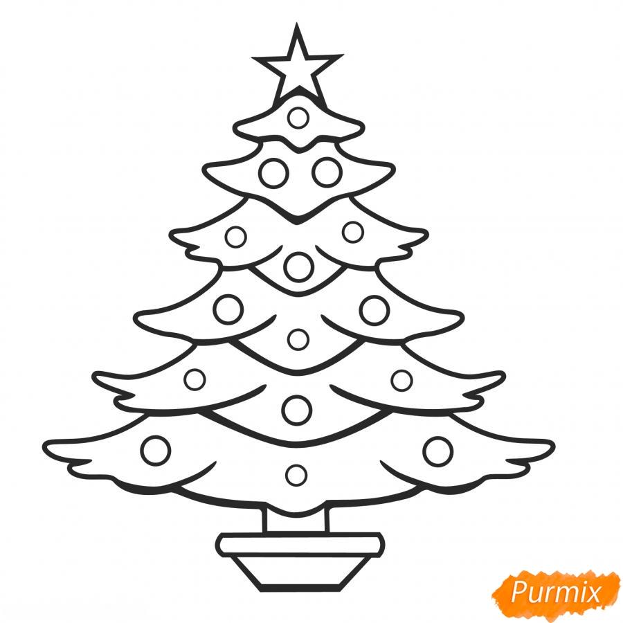 Рисунки елки для срисовки - шаг 2