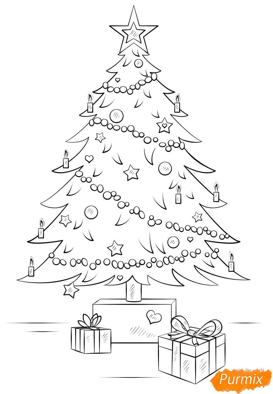 Рисунки елки для срисовки - шаг 3