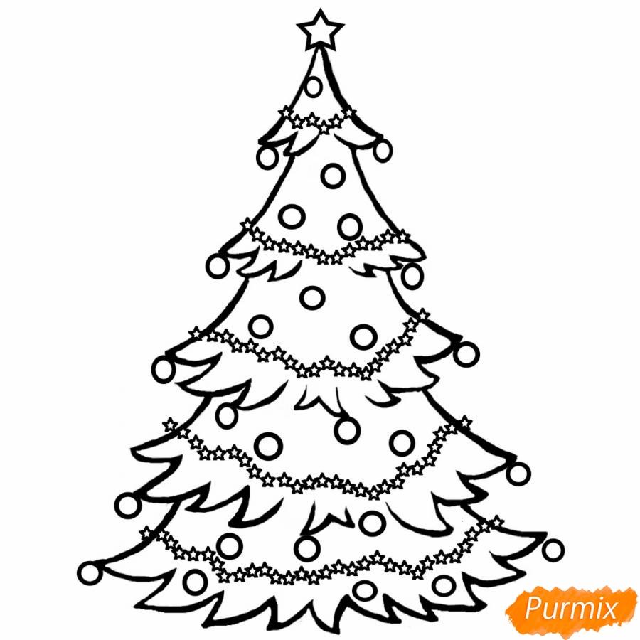Рисунки елки для срисовки - шаг 4