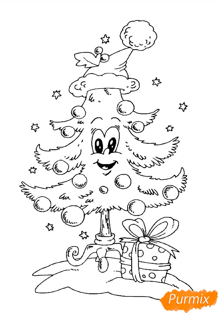 Рисунки елки для срисовки - шаг 5