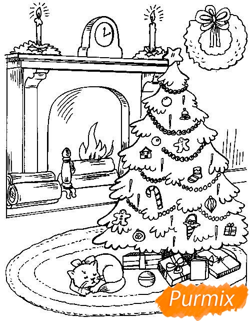 Рисунки елки для срисовки - шаг 7