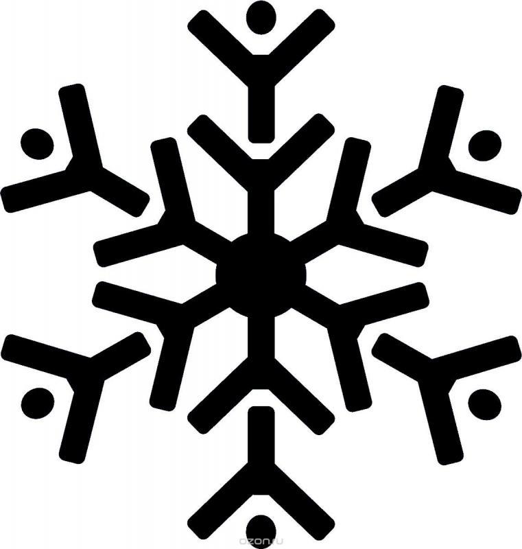 Рисунки снежинок для срисовки - шаг 1