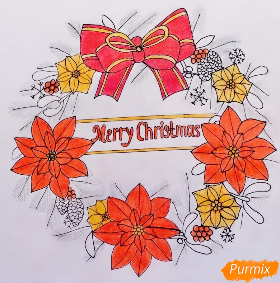 Рождественский венок с надписью Merry Christmas - шаг 10
