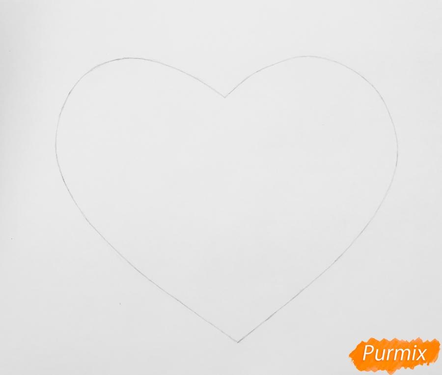 Валентинка с милым тигрёнком и сердечками на День Святого Валентина - шаг 1
