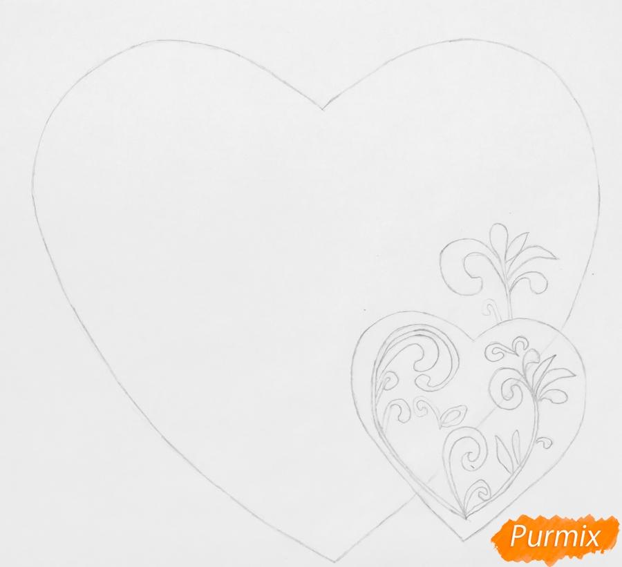 Валентинка с собачкой с розой во рту и с сердечками - шаг 2