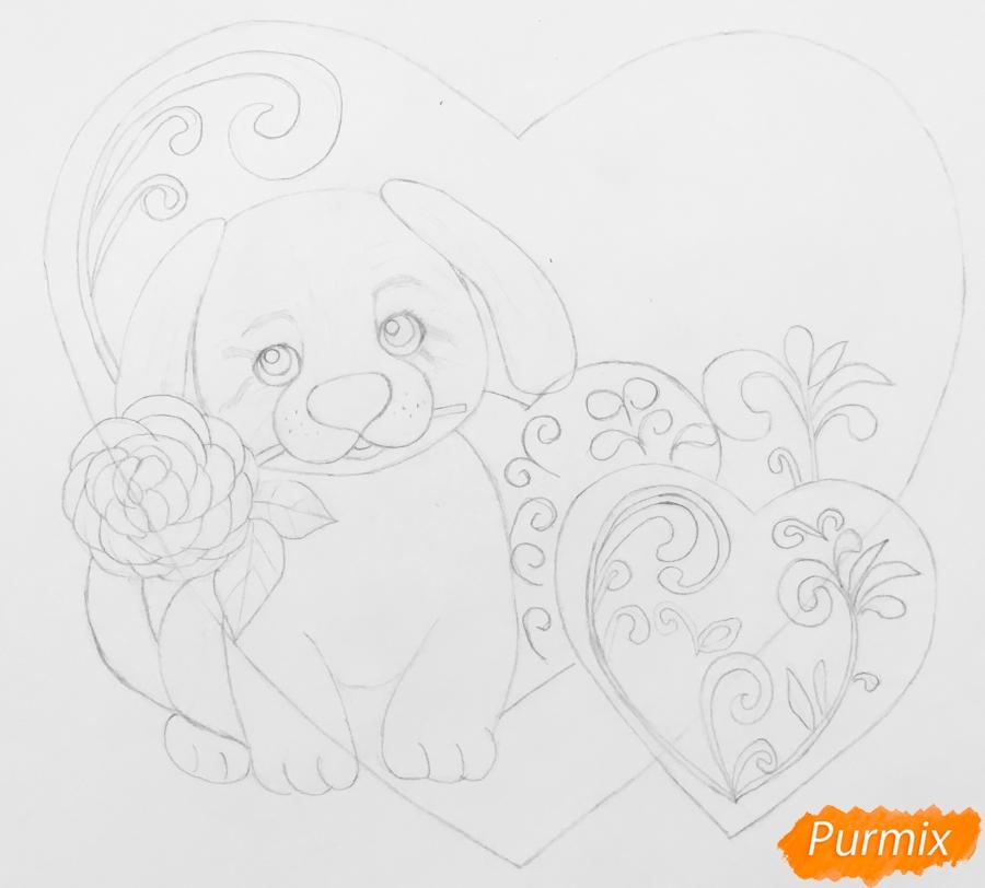 Валентинка с собачкой с розой во рту и с сердечками - шаг 4
