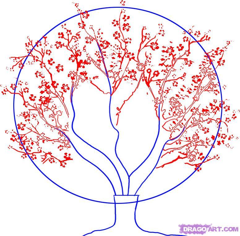 Рисуем вишневое дерево - шаг 2