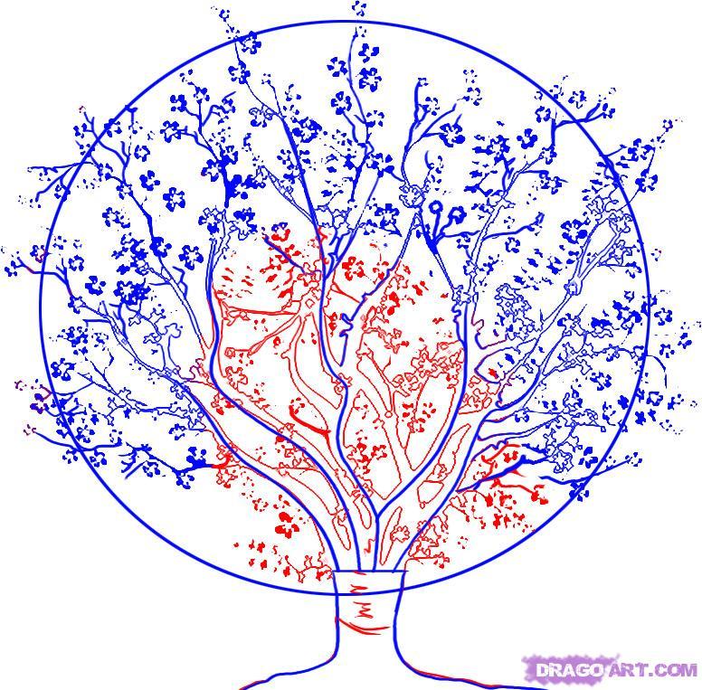 Рисуем вишневое дерево - шаг 3