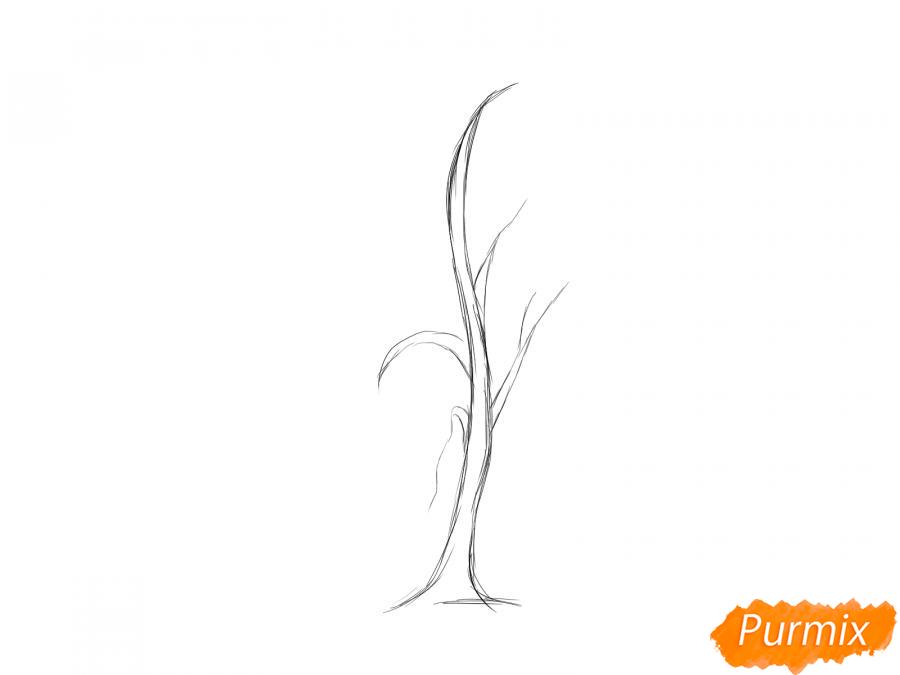 Рисуем березу без листьев - шаг 3