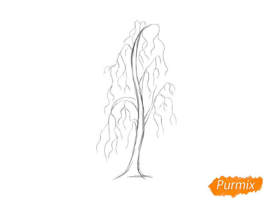 Рисуем березу без листьев - шаг 4