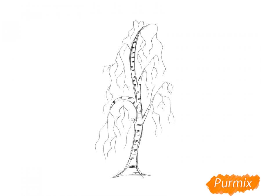 Рисуем березу без листьев - шаг 5