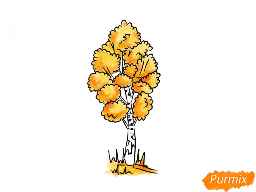 Рисуем березу осенью - шаг 7