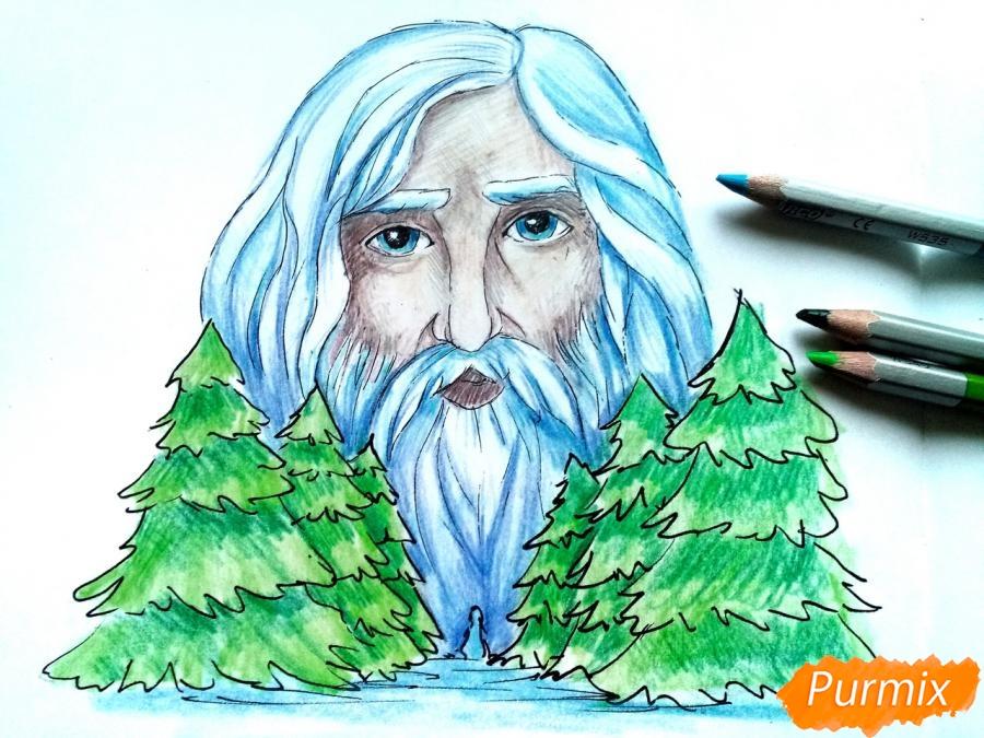 Рисуем бога зимы Зюзю карандашами - шаг 10