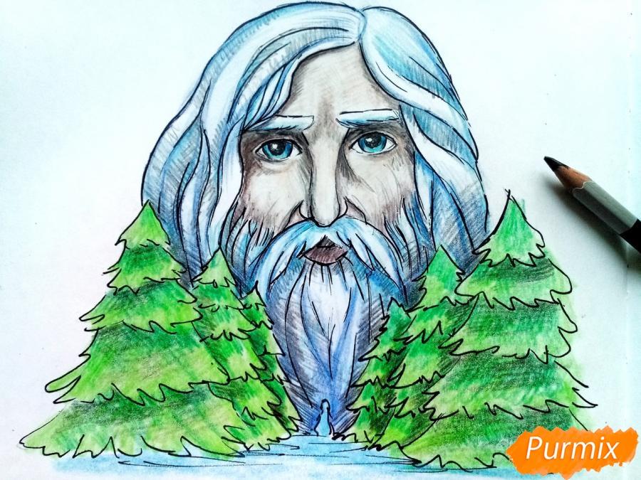 Рисуем бога зимы Зюзю карандашами - шаг 11