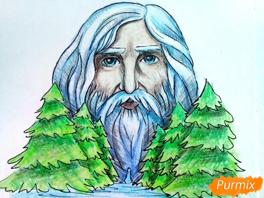Рисуем бога зимы Зюзю карандашами - шаг 12