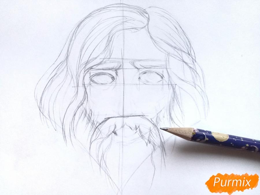 Рисуем бога зимы Зюзю карандашами - шаг 3