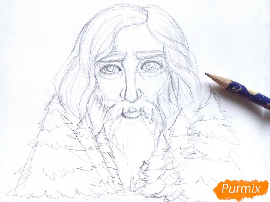 Рисуем бога зимы Зюзю карандашами - шаг 5